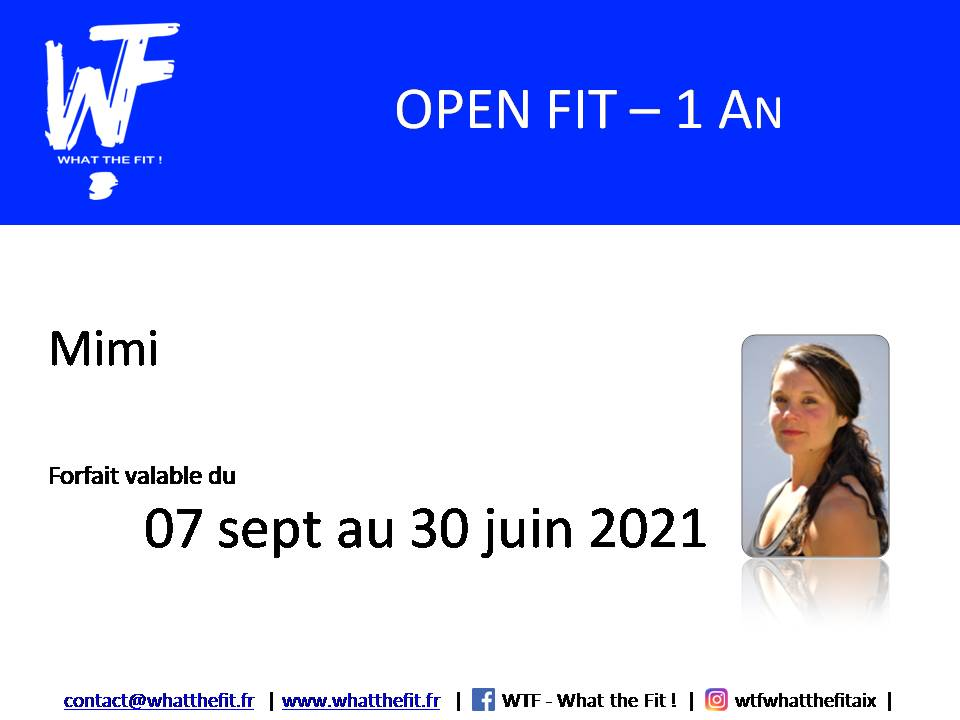 Forfait OPEN FIT – 1 An